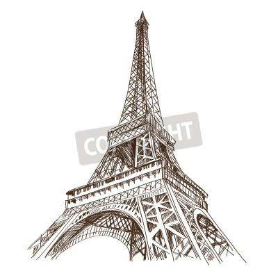 Naklejka Hand drawn Eiffel Tower  Paris, vector illustration