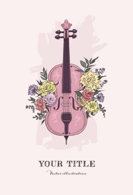 Naklejka Hand drawn illustration of cello and flowers