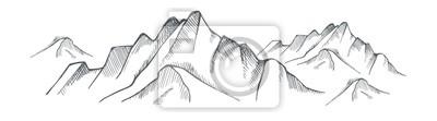 Naklejka Hand drawn mountain on a white background. Vector