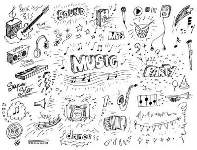 Naklejka Hand drawn music doodles vector illustration