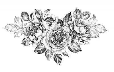 Naklejka Hand drawn Peony Flower with Leaves