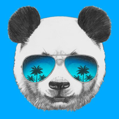 Naklejka Hand drawn portrait of Panda with mirror sunglasses. Vector isolated elements