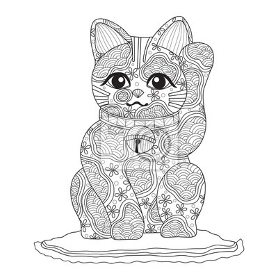Naklejka Hand drawn sketch illustration of Japanese lucky cat for adult coloring book.
