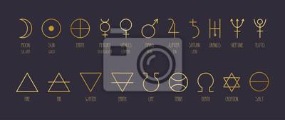 Naklejka Hand-drawn vector set of alchemical symbols in golden gradient.