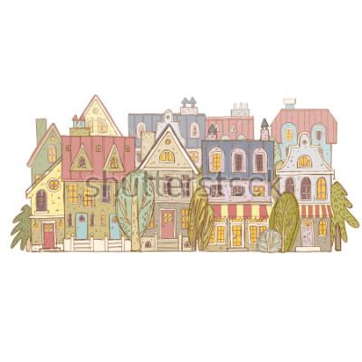 Naklejka hand drawn vector village