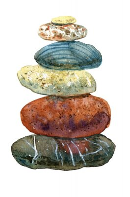 Naklejka Hand drawn watercolor heap of stones