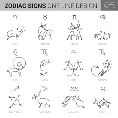 Naklejka HAND DRAWN ZODIACAL SIGNS IN INK STYLE