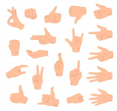 Naklejka Hand gestures. Male hands with various signs. Ok, victory and like, dislike. Counting fingers, holding arm flat isolated vector set. Pointing finger, showing numbers and direction with forefinger