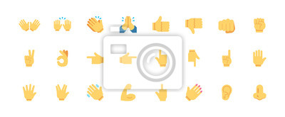 Naklejka Hand gestures vector icons set. All type of hand emojis, emoticons, thumbs up, down, arm, elbow, gym, muscle, nail illustrations set, collection