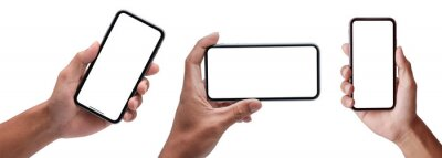 Naklejka Hand holding the black smartphone iphone with blank screen and modern frameless design in two rotated perspective positions - isolated on white background - Clipping Path