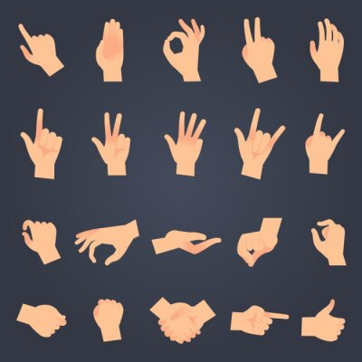 Naklejka Hand position set. female or male hands holding gesture opening somethin and touching pose vector isolated objects
