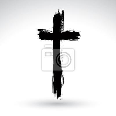 Naklejka Hand wyciągnąć grunge czarny krzyż ikona, proste Krzyż znak,