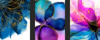 Naklejka Handmade abstract art background with watercolor, inks stain, spots elements with purple, green and blue color. Elegant gold veins wallpaper.