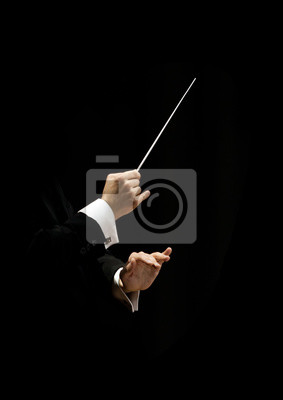 Naklejka Hands of conductor on a black background