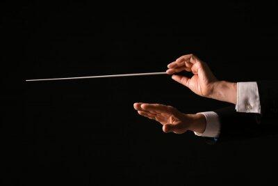 Naklejka Hands of male conductor on dark background