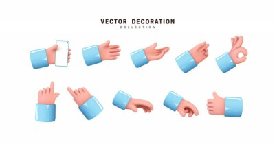 Naklejka Hands set of realistic 3d design in cartoon style. Hand shows different gestures signs. Vector illustration