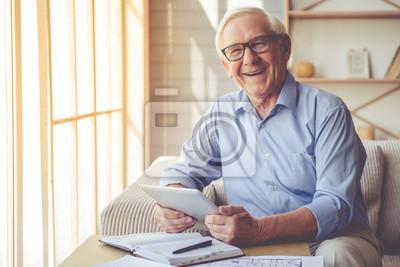Naklejka Handsome old man at home