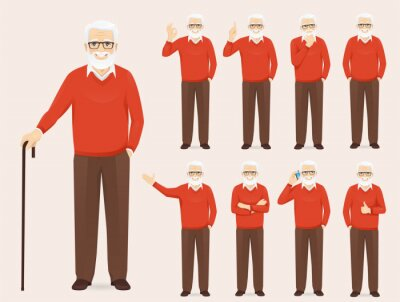 Naklejka Handsome senior man in casual outfit set with different gestures isolated vector illustration
