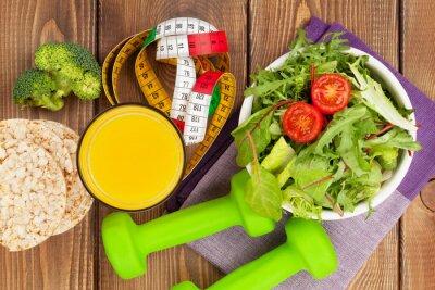 Naklejka Hantle, środek taśmy i zdrowej żywności.
