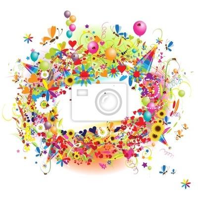 Naklejka Happy holiday, funny rama z balonów