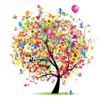 Naklejka Happy holiday, Zabawna drzewa z dymkami