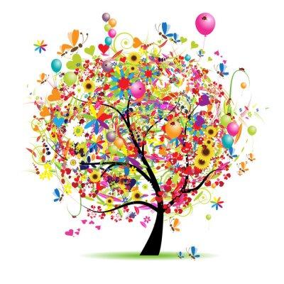 Naklejka Happy holiday, Zabawna drzewa z ludzi