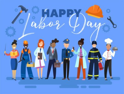 Naklejka Happy Labor Day card or poster design with a group of multiracial people from the community in different occupations standing in a line below text on a blue background, colorful vector illustration