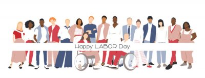 Naklejka Happy Labor Day card. People of different ethnicities stand side by side together. Flat vector illustration.