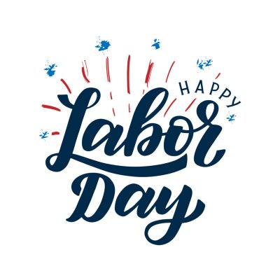 Naklejka Happy Labor Day typography poster. Hand sketched labor day text logo with festive fireworks background in the colors of usa flag. Labor day social media post template.