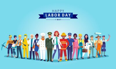 Naklejka Happy labour day celebration with group professionals.