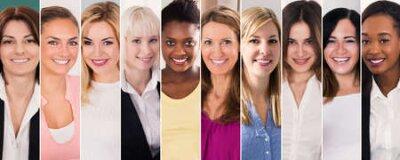 Naklejka Happy Multi Ethnic Women Collage. Diverse Group Of Women Portraits