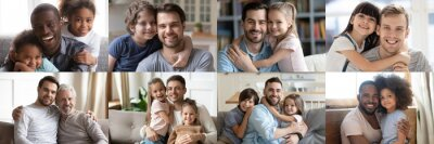 Naklejka Happy multiethnic young adult and old daddies hugging children looking at camera. Smiling african and caucasian dads posing with kids for family faces headshots portraits. Fathers day concept. Collage