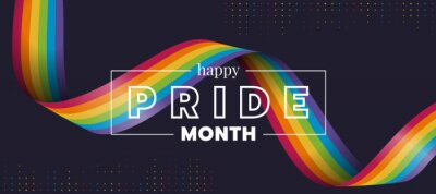 Naklejka Happy Pride month text and rainbow pride ribbon roll wave on circle dot texture and dark background vector design