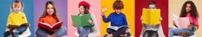 Naklejka Happy pupils reading colorful books