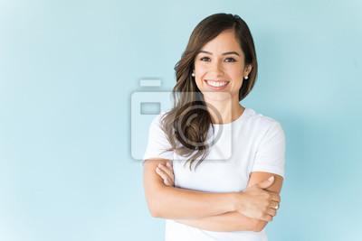 Naklejka Happy Self-Assured Woman On Isolated Background