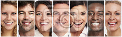 Naklejka Happy smiling people faces