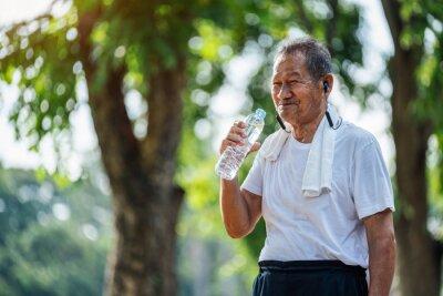 Naklejka Happy thirsty senior man drinking fresh water after sports in park, Concept of senior healthy lifestyle.