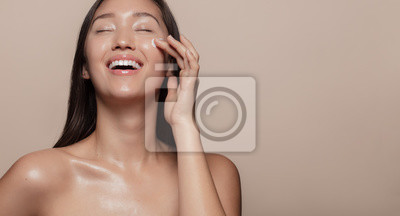 Naklejka Happy with her beauty regime