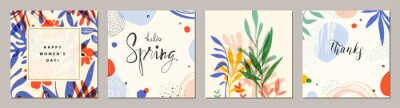 Naklejka Happy Women's Day. Hello Spring. Trendy abstract square art templates. Suitable for social media posts, mobile apps, banners design and web/internet ads.