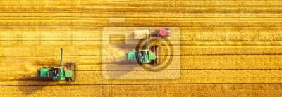 Naklejka Harvester machine working in field