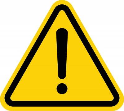 Naklejka Hazard warning attention sign with exclamation mark symbol
