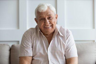 Naklejka Headshot portrait of smiling mature man relaxing on sofa