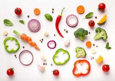 Naklejka Healthy flat lay of sliced vegetables composition