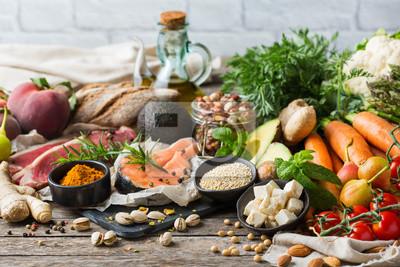 Naklejka Healthy food for balanced flexitarian mediterranean diet concept