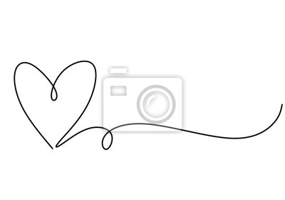 Naklejka Heart one line drawing symbol of love. Vector continuous hand drawn sketch minimalism illustration isolated on white background.