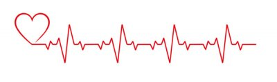 Naklejka Heartbeat line heart cardio vector icon