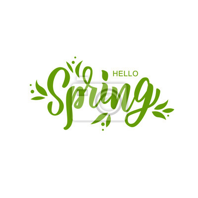 Naklejka Hello spring hand lettering text as logotype, badge and icon, postcard, card, invitation, banner template. Special spring sale typography poster. Vector illustration.