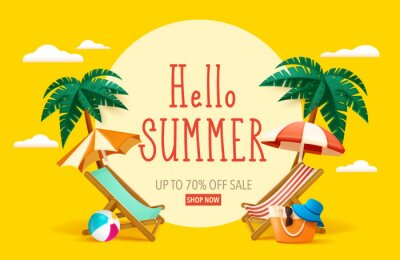 Naklejka Hello summer! Summer beach vacation holiday theme with big sign.
