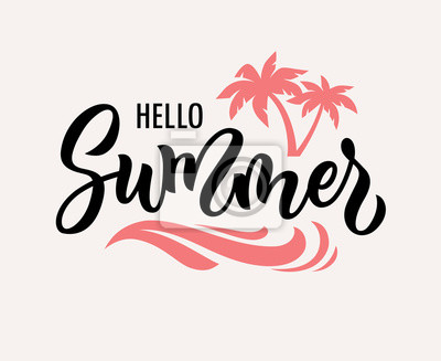 Naklejka Hello summer hand drawn vector text illustration.