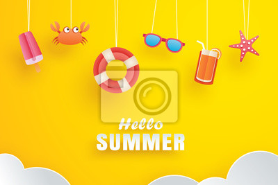 Naklejka Hello summer with decoration origami hanging on yellow background. Paper art and craft style.